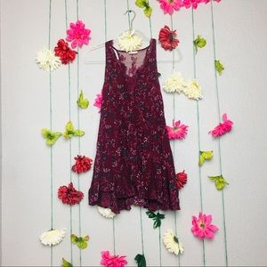Intimately Free People Burgundy Floral Tank Top XS